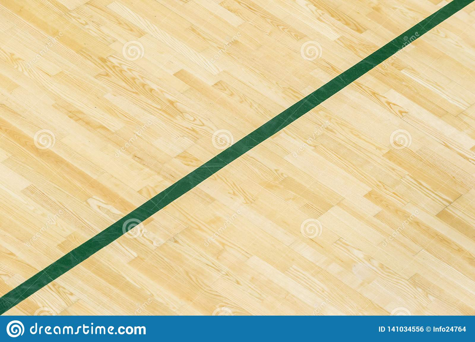 Green line on the gymnasium floor for assign sports court. Badminton, Futsal, Volleyball and Basketball court