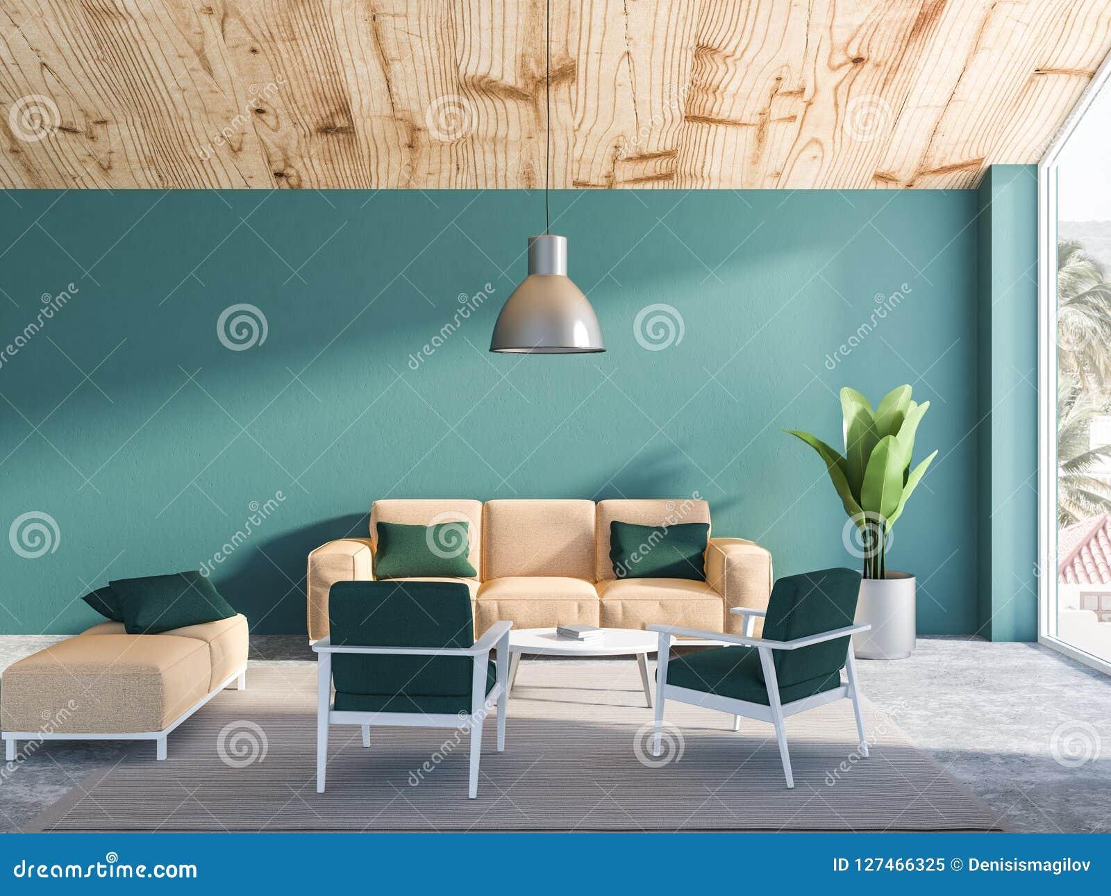 Green Living Room Interior, Beige Sofa Stock Illustration ...