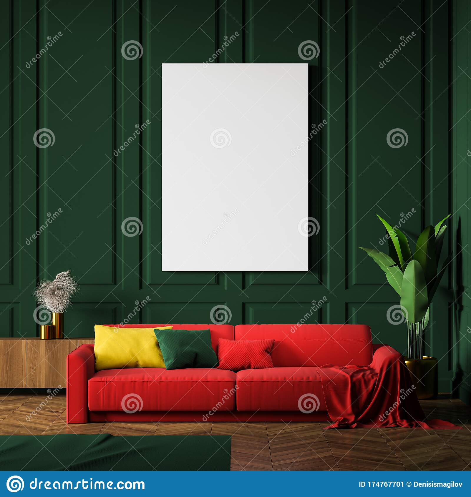 Green Living Room Interior Red Sofa And Poster Stock Illustration Illustration Of Mock Lounge 174767701