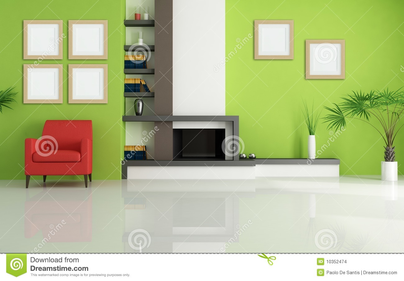 Green living room with modern fireplace
