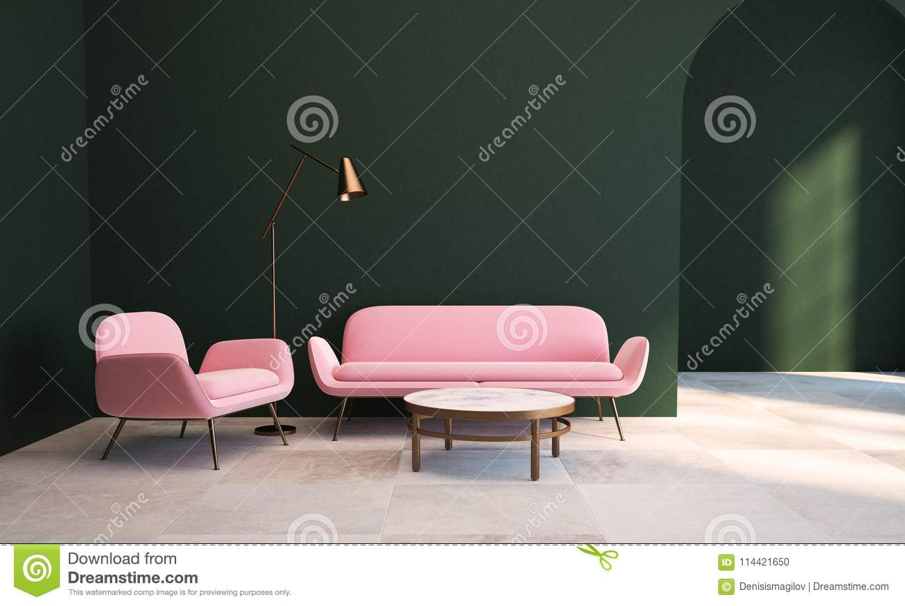 Green Living Room, Pink Armchair And Sofa