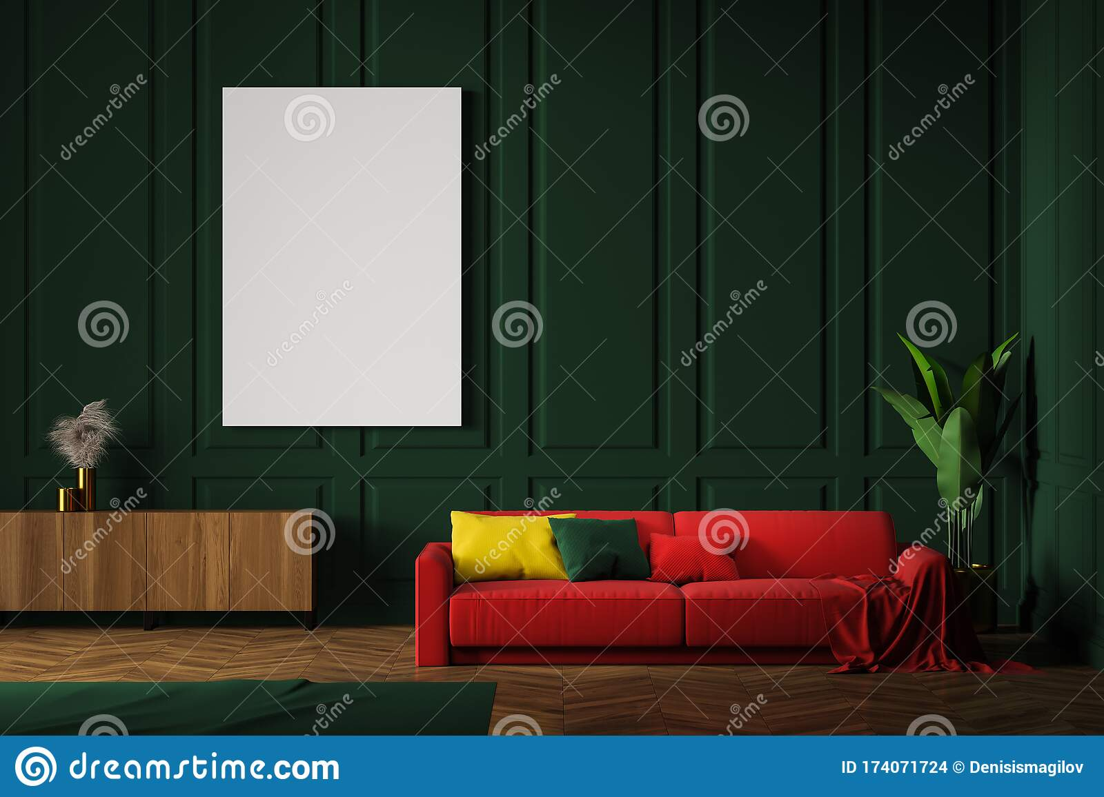 Green Living Room With Red Sofa And Poster Stock Illustration Illustration Of Minimal Luxury 174071724