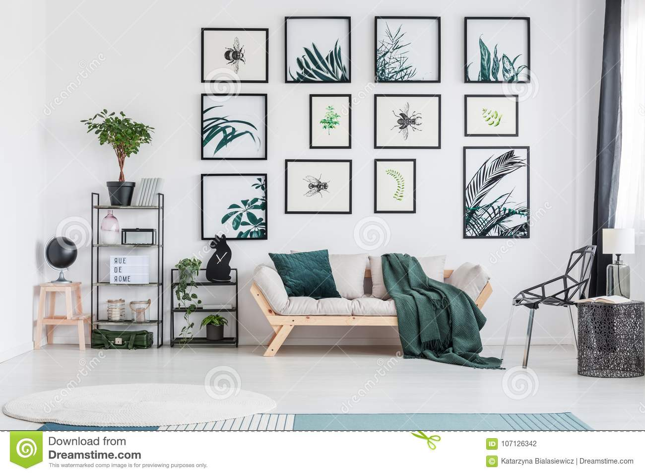 Green Living Room With Sofa Stock Photo - Image of house, black ...