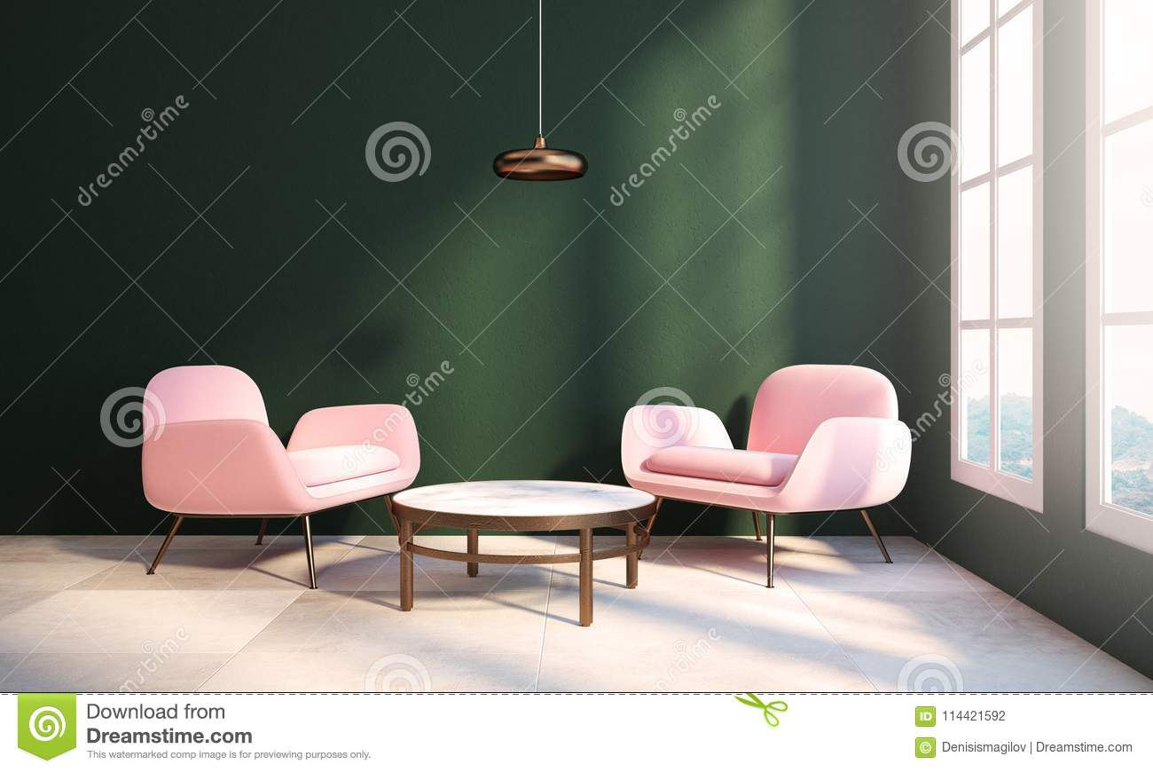 Living Room Interior With Dark Green Walls, A Checkered Floor, A Coffee  Table And Two Pink Armchairs Near The Window. 3d Rendering Mock Up