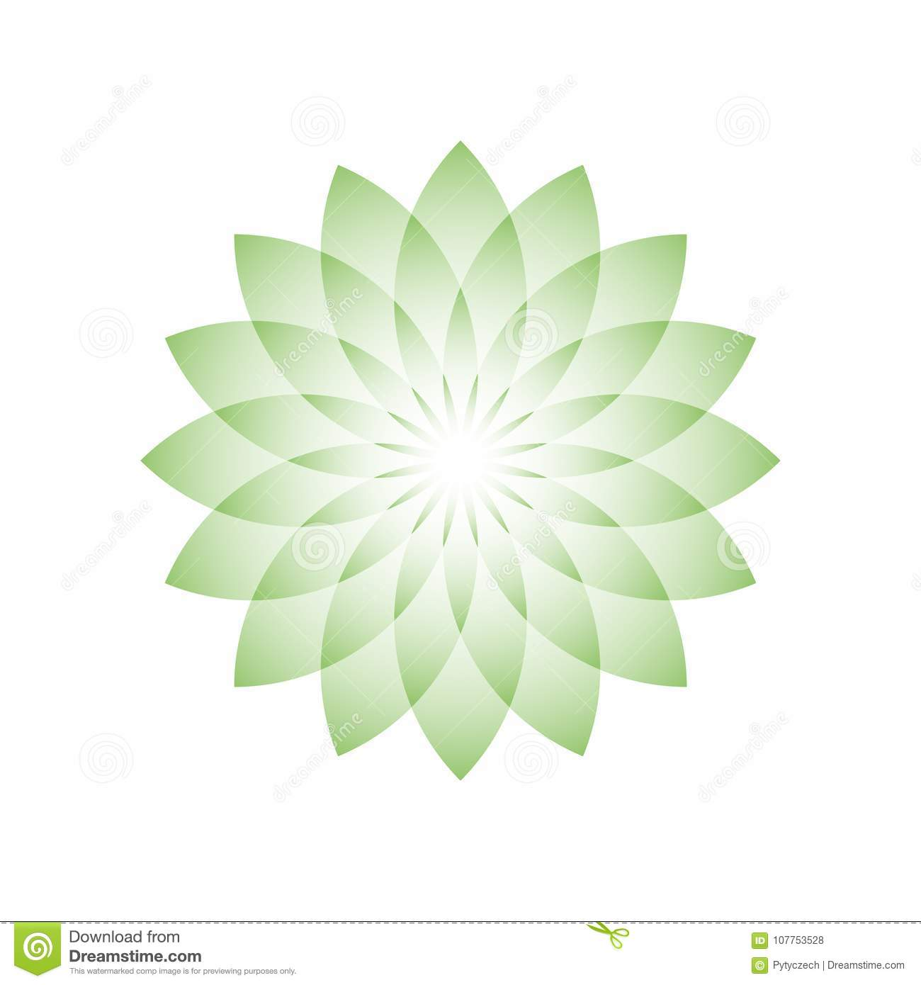 Green Lotus Flower Symbol Of Yoga Wellness Beauty And Spa