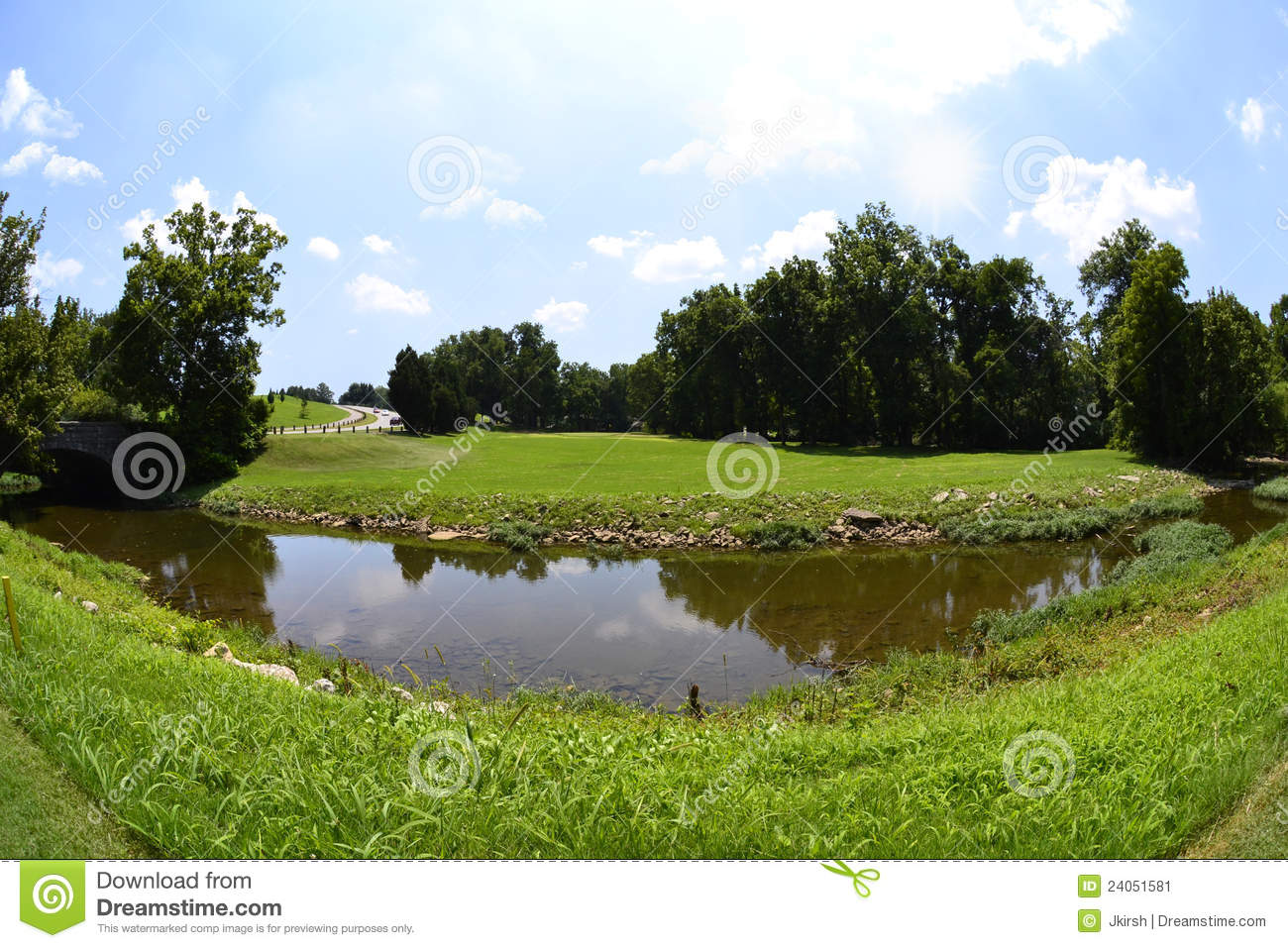 Green And Luscious Golf Course Fairway Stock Image Image