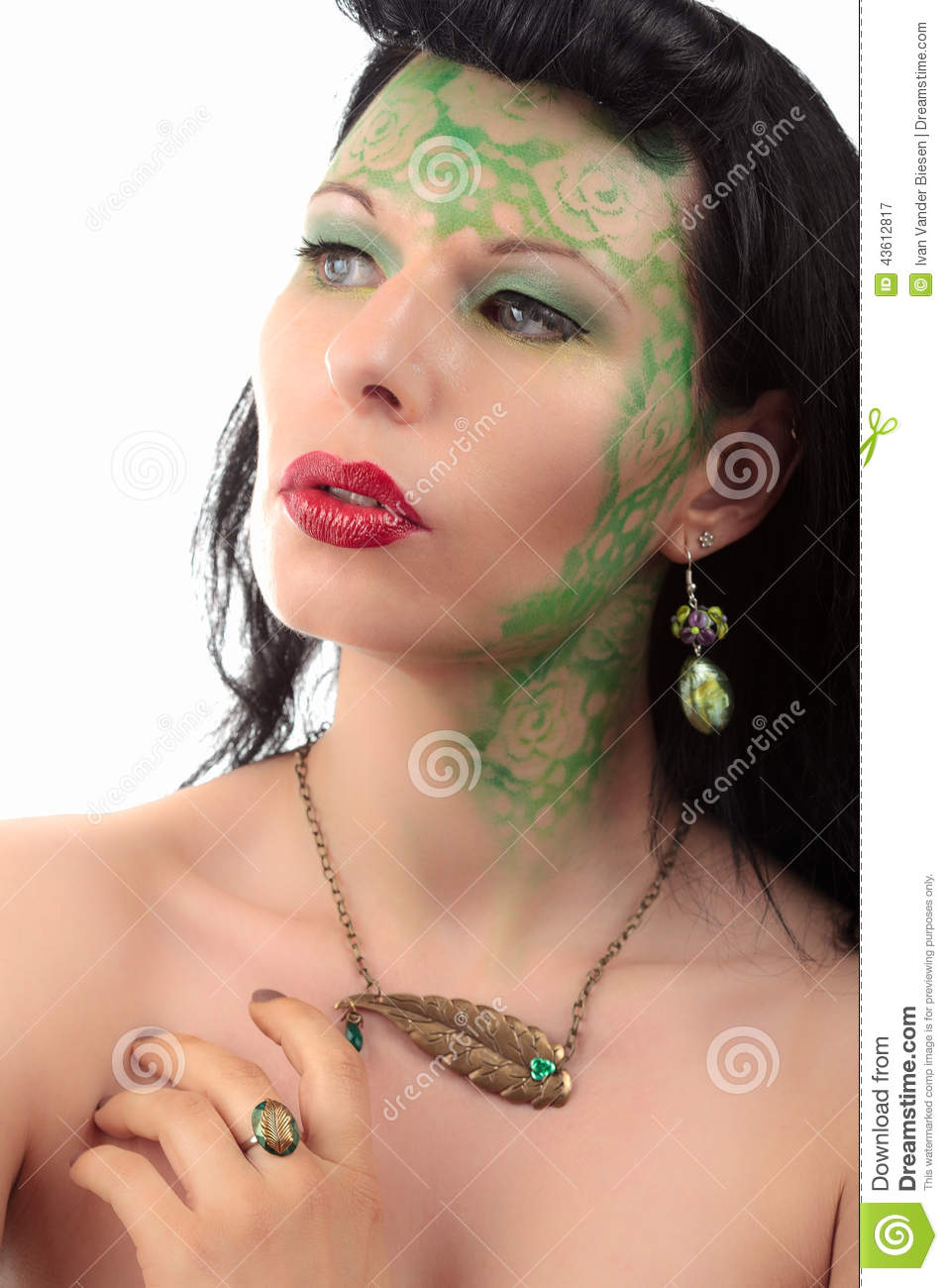 green makeup girl art nouveau ring earring and necklace