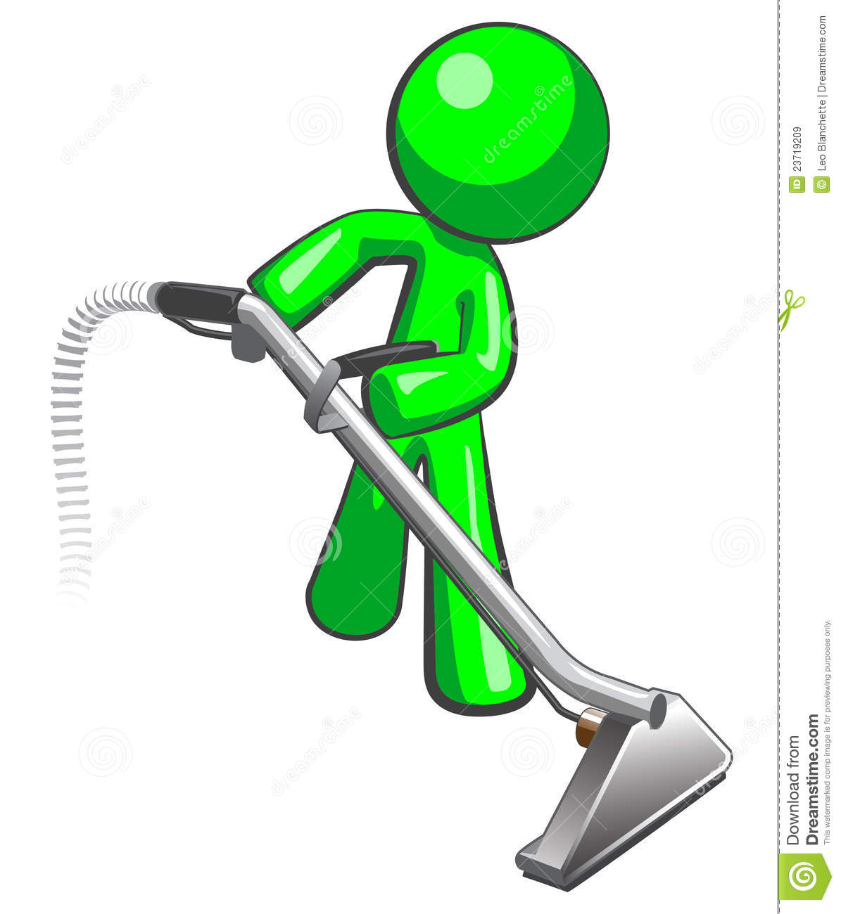 Green Man With Steam Cleaner Carpet Wand Royalty Free
