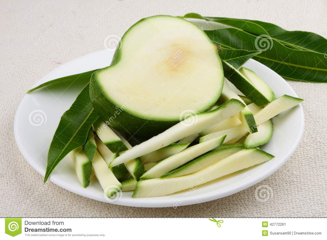 Green Mango Big Slices Stock Photo - Image: 42772261