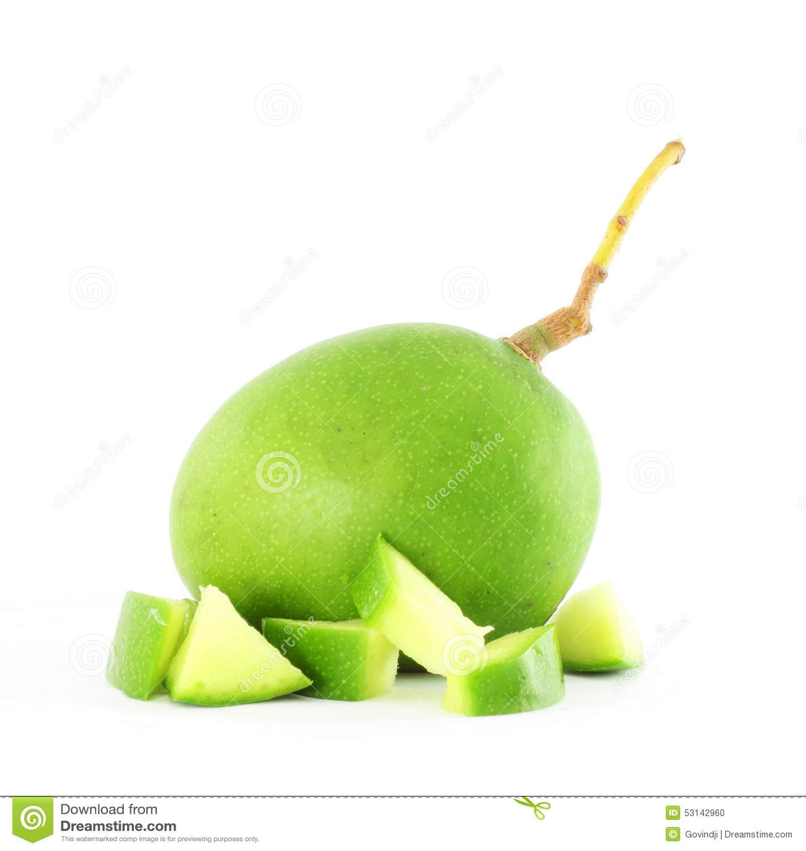 green mango with cut mango stock photo image 53142960