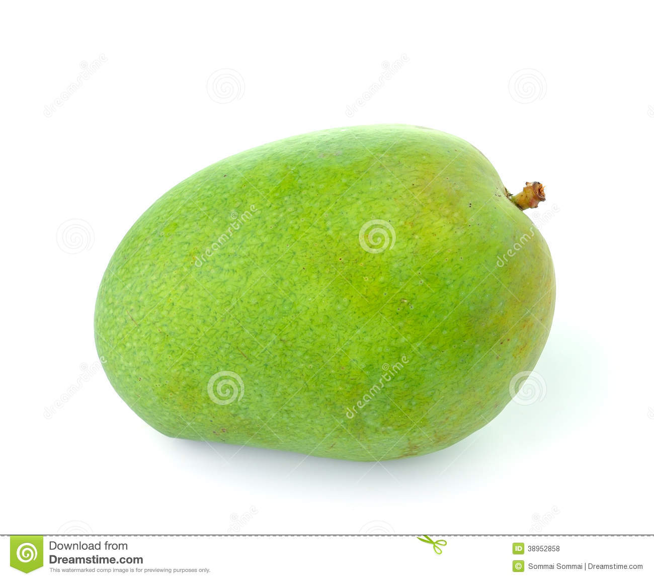 green mango isolated on white background stock photo