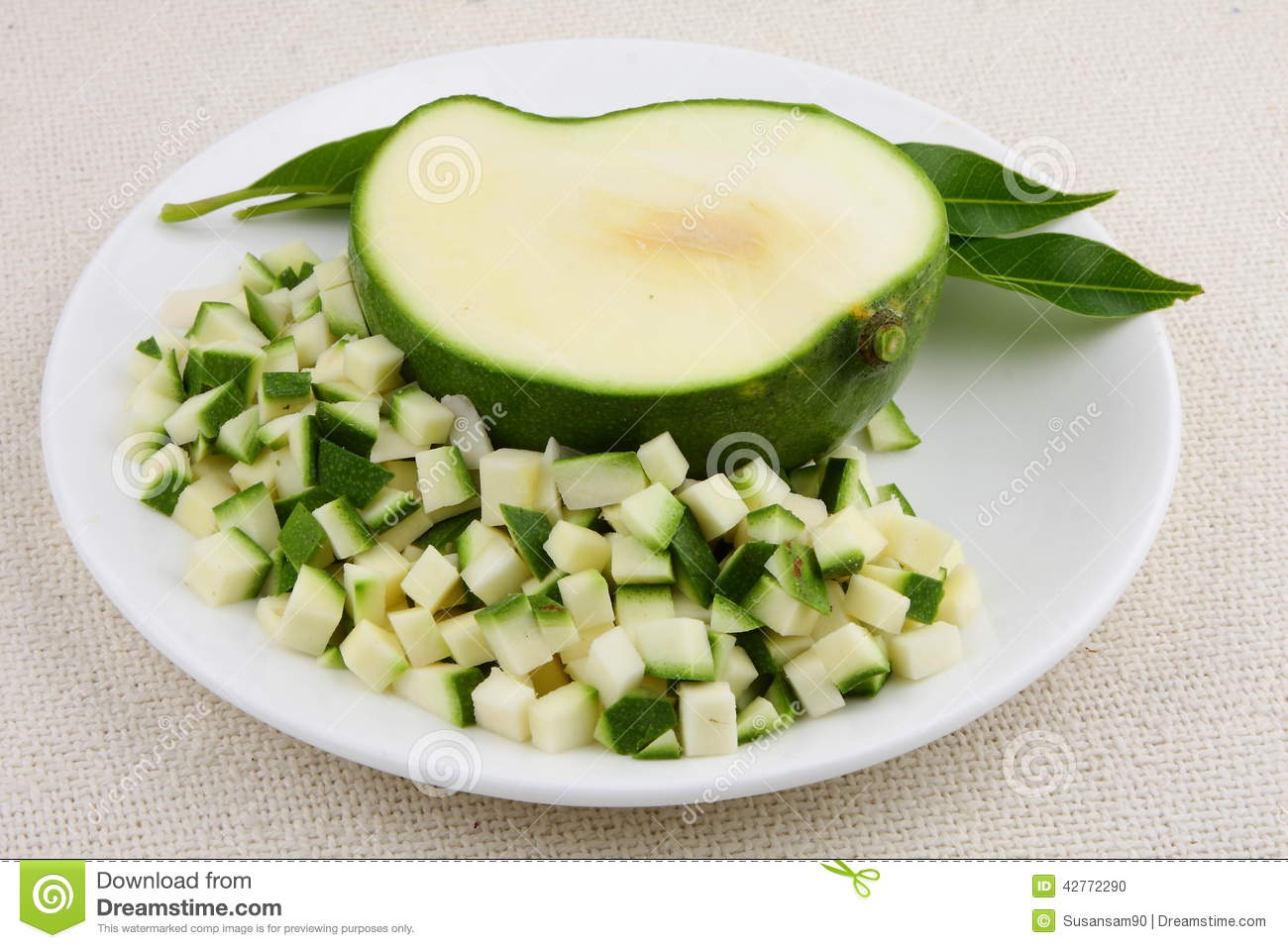 Green Mango Small Slices Stock Photo - Image: 42772290