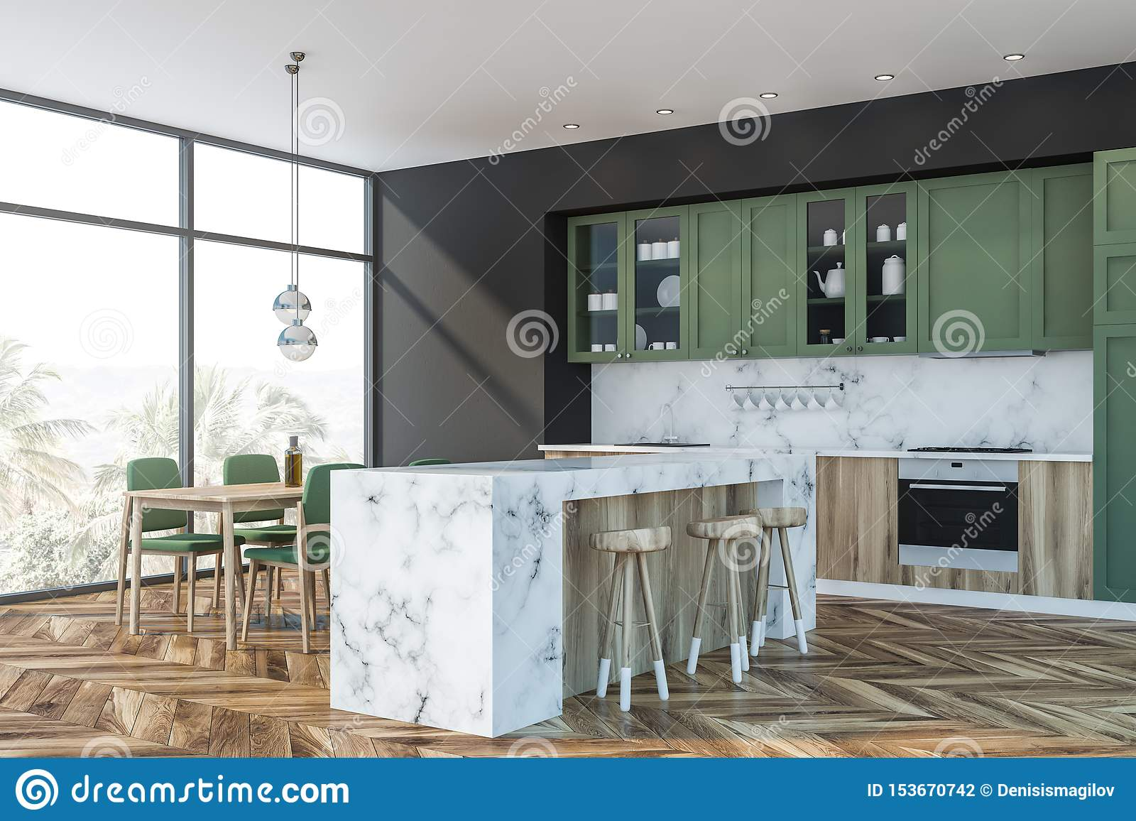 Green And Marble Kitchen Bar And Table Stock Illustration Illustration Of Interior Cabinet 153670742