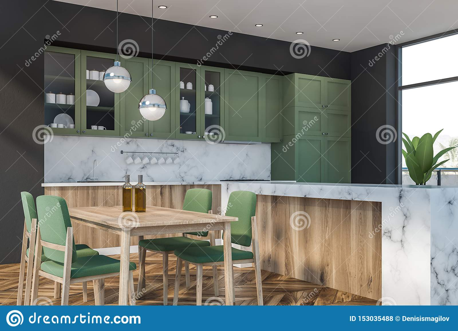 Green And Marble Kitchen Corner Bar And Table Stock Illustration Illustration Of Home Bright 153035488