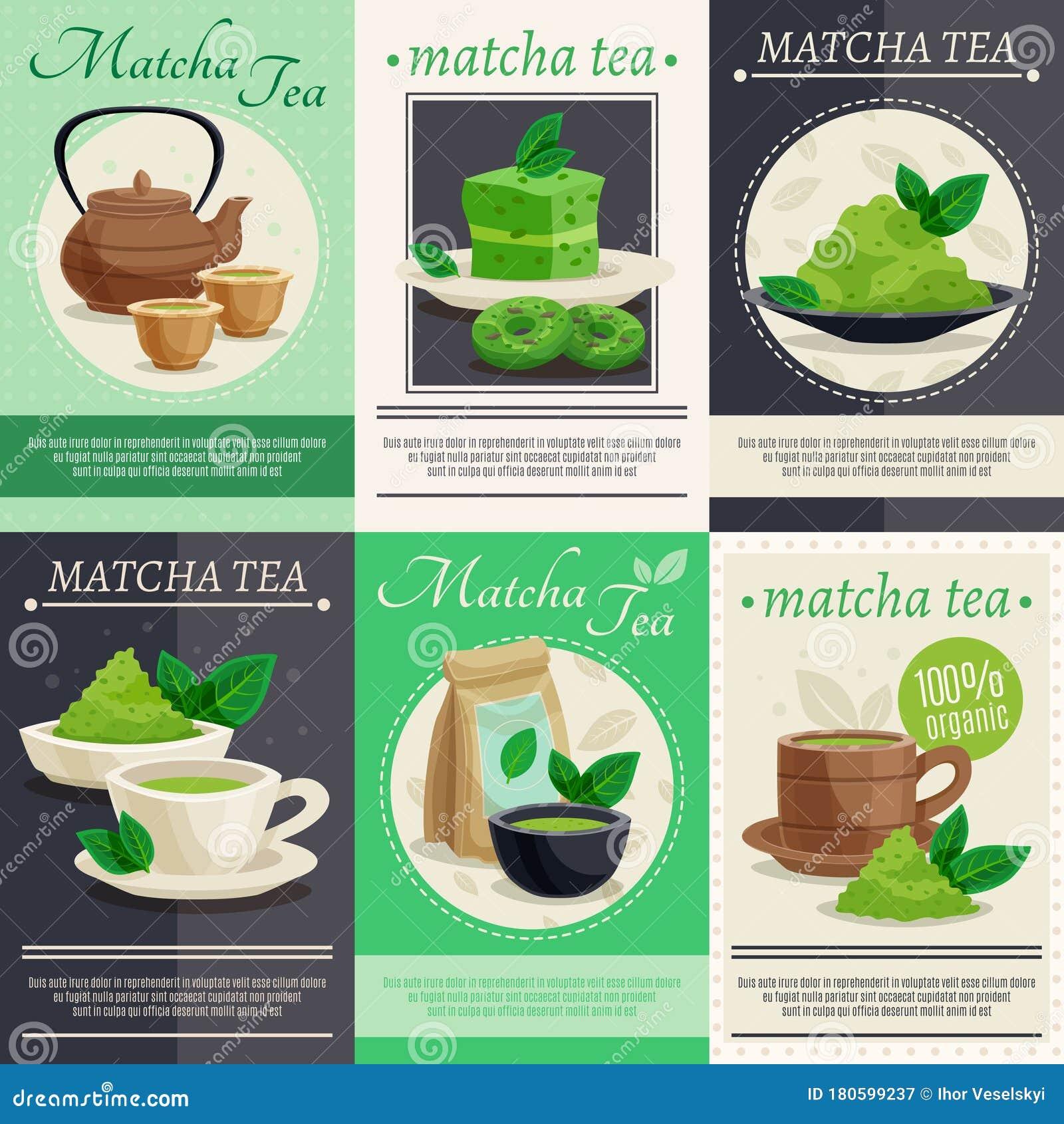 Green Matcha Tea Mini Banners Stock Vector
