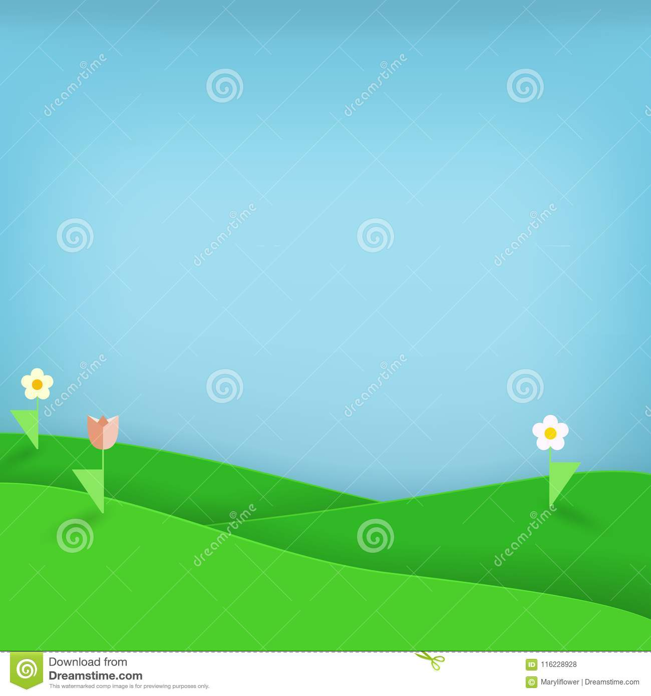 Green Meadow With Flowers Flat Paper Art And Craft Style Origami