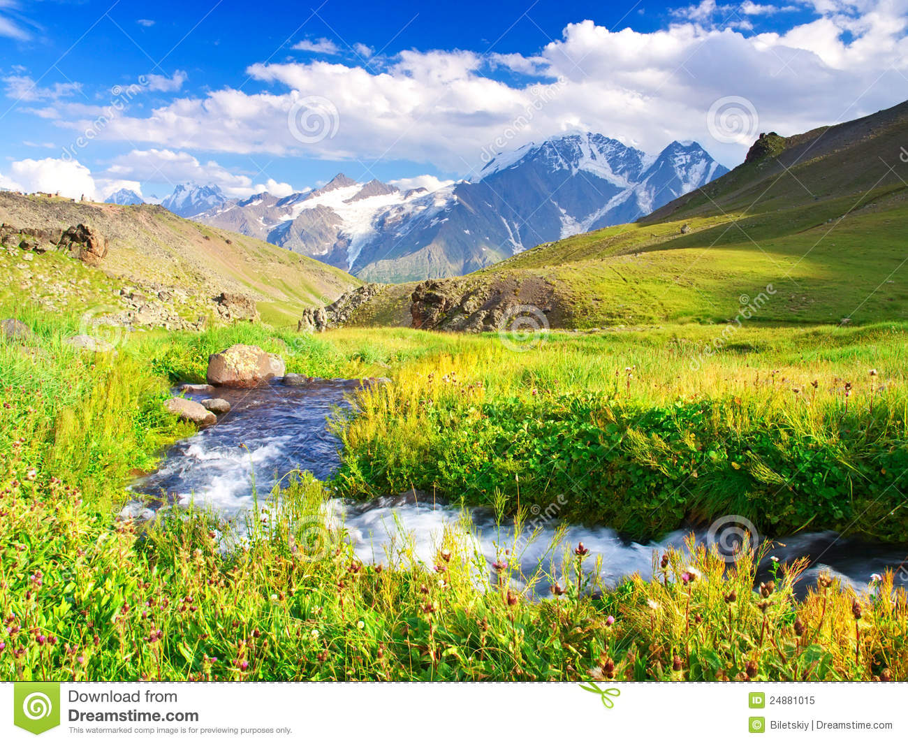 green meadow and river stock image  image of mountain