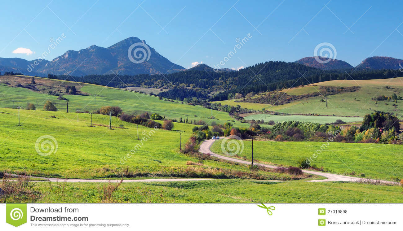 Download Green Meadows At Bobrovnik And Great Choc Mountain Stock Photo - Image of hill, roads: 27019898
