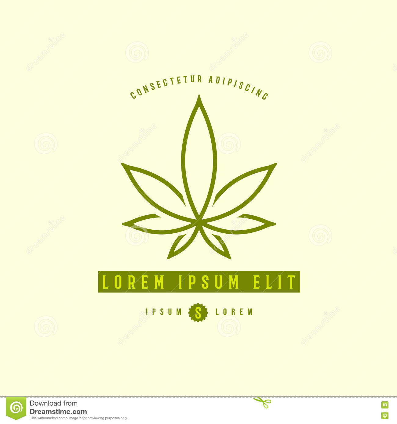 weed leaf template - green medical cannabis plant logo emblem stock vector