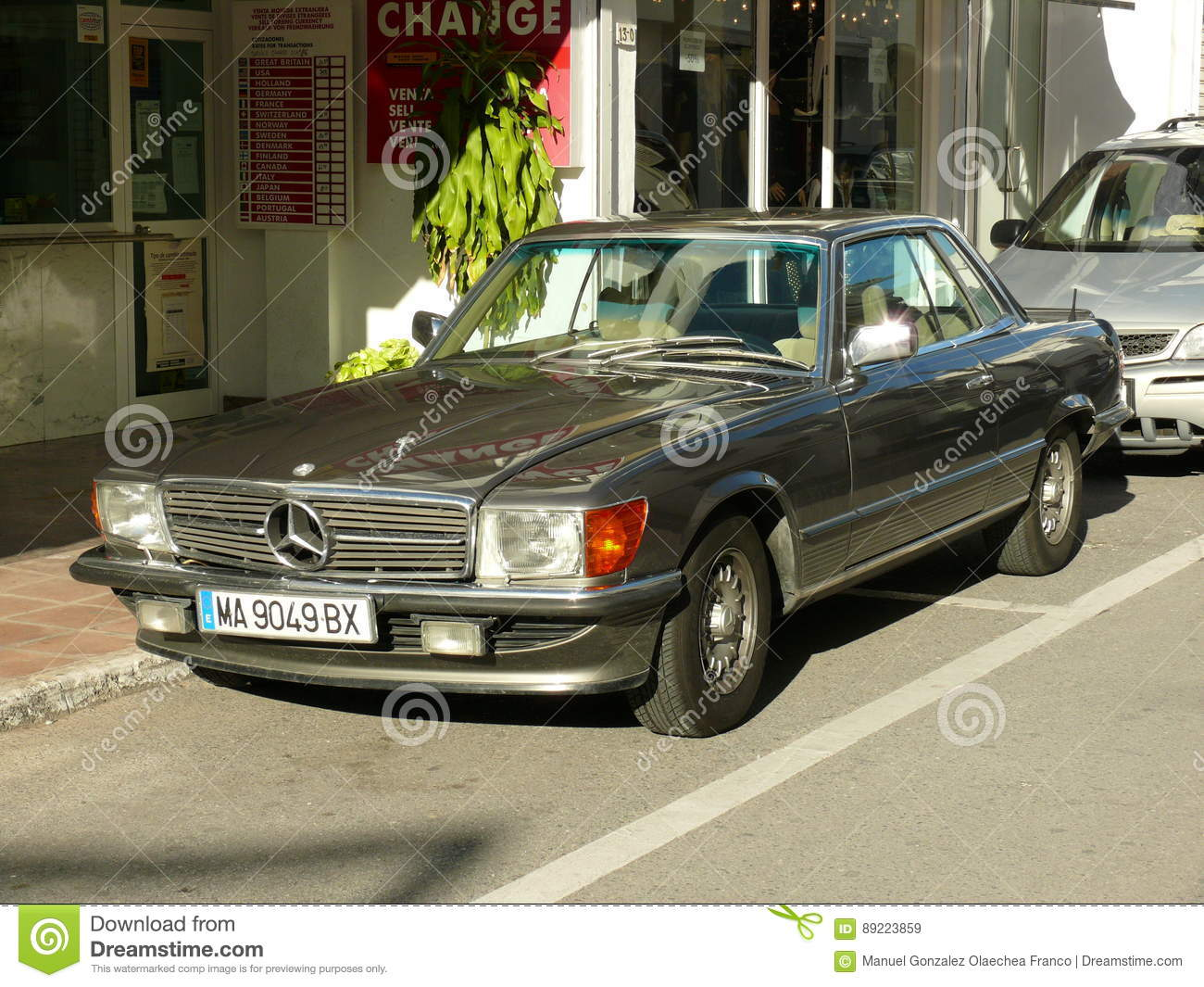 Green Mercedes-Benz 450 SLC Coupe In Spain Editorial Stock ...
