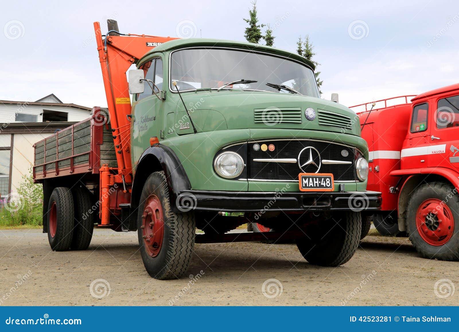 Green mercedes benz 1413 tipper truck editorial photo for Old mercedes benz trucks