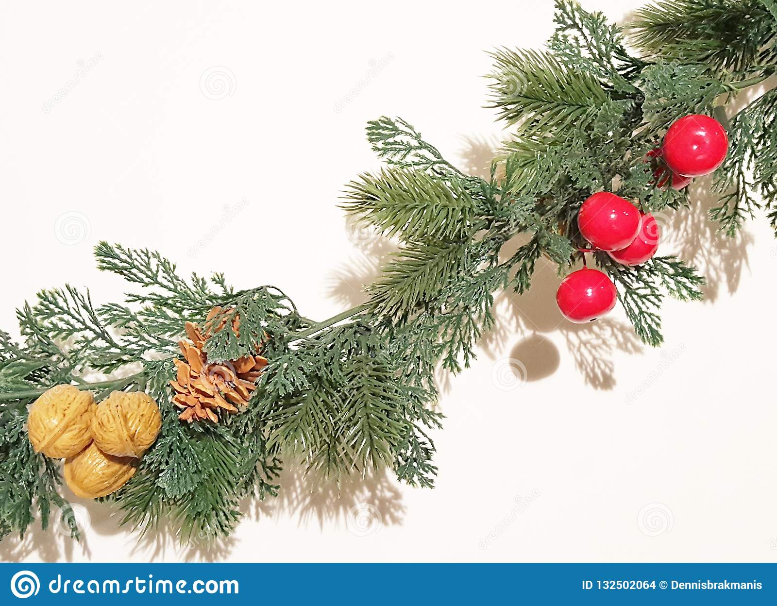 Green Merry Christmas Garland With Nature Ornaments Decoration Stock