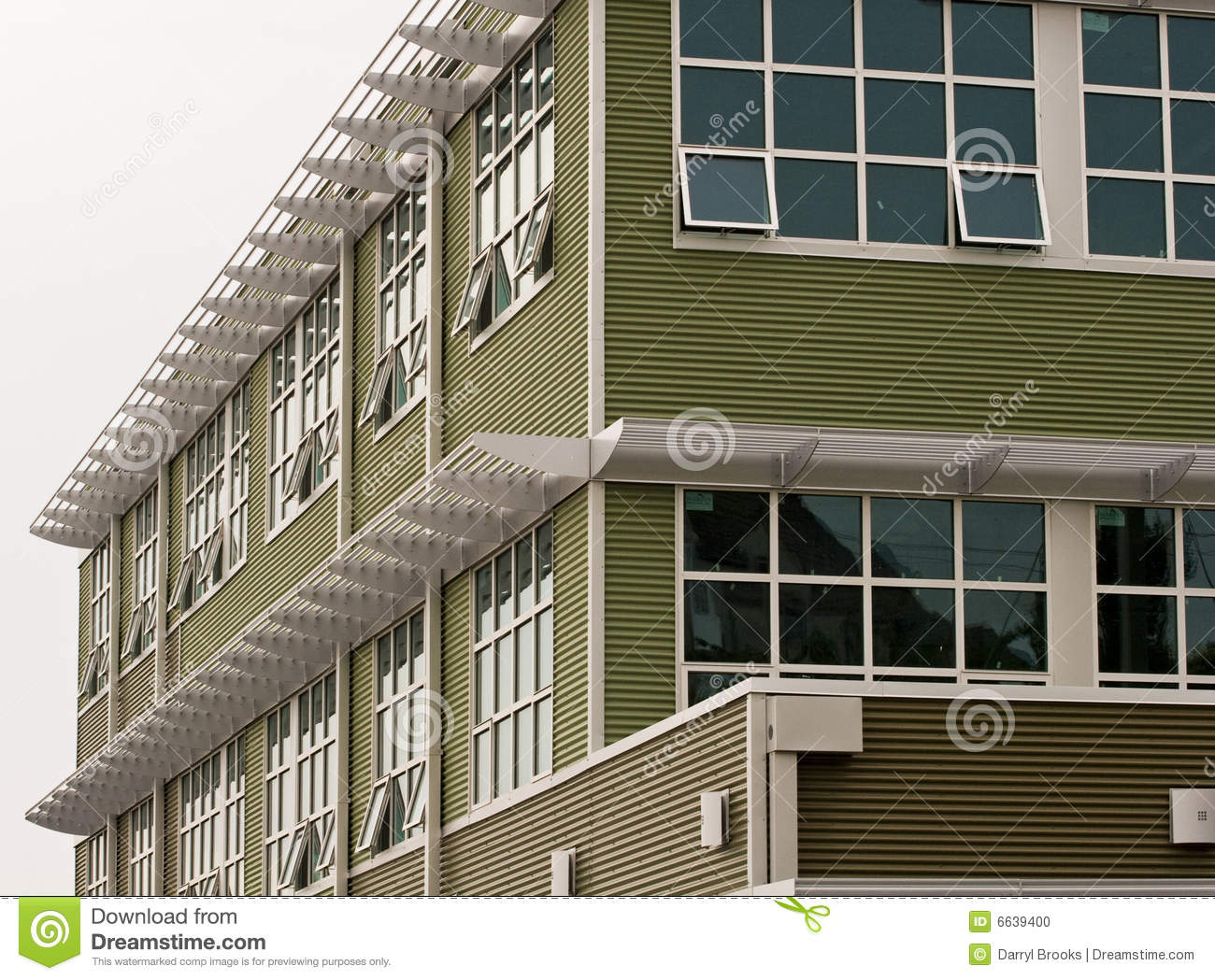 Green Metal Building And Windows Stock Photo Image 6639400