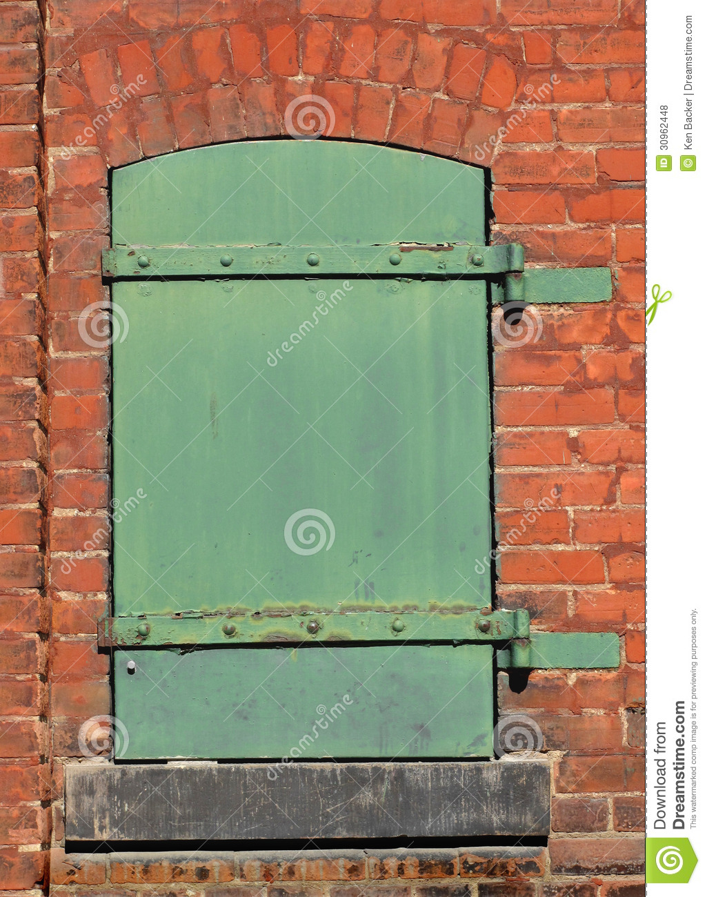 Green Metal Door In A Brick Wall Stock Photo Image Of