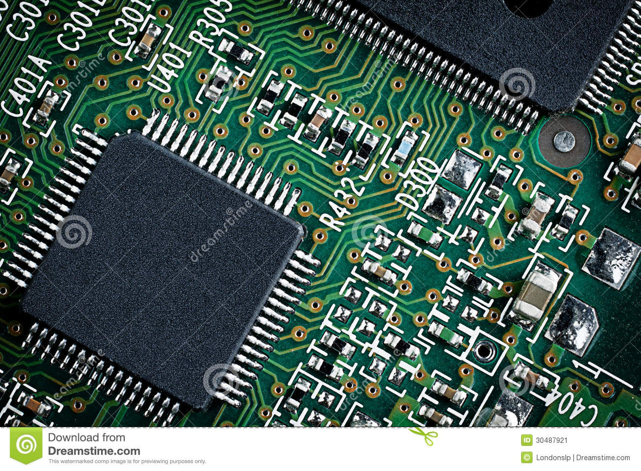 green microchip close up  stock image