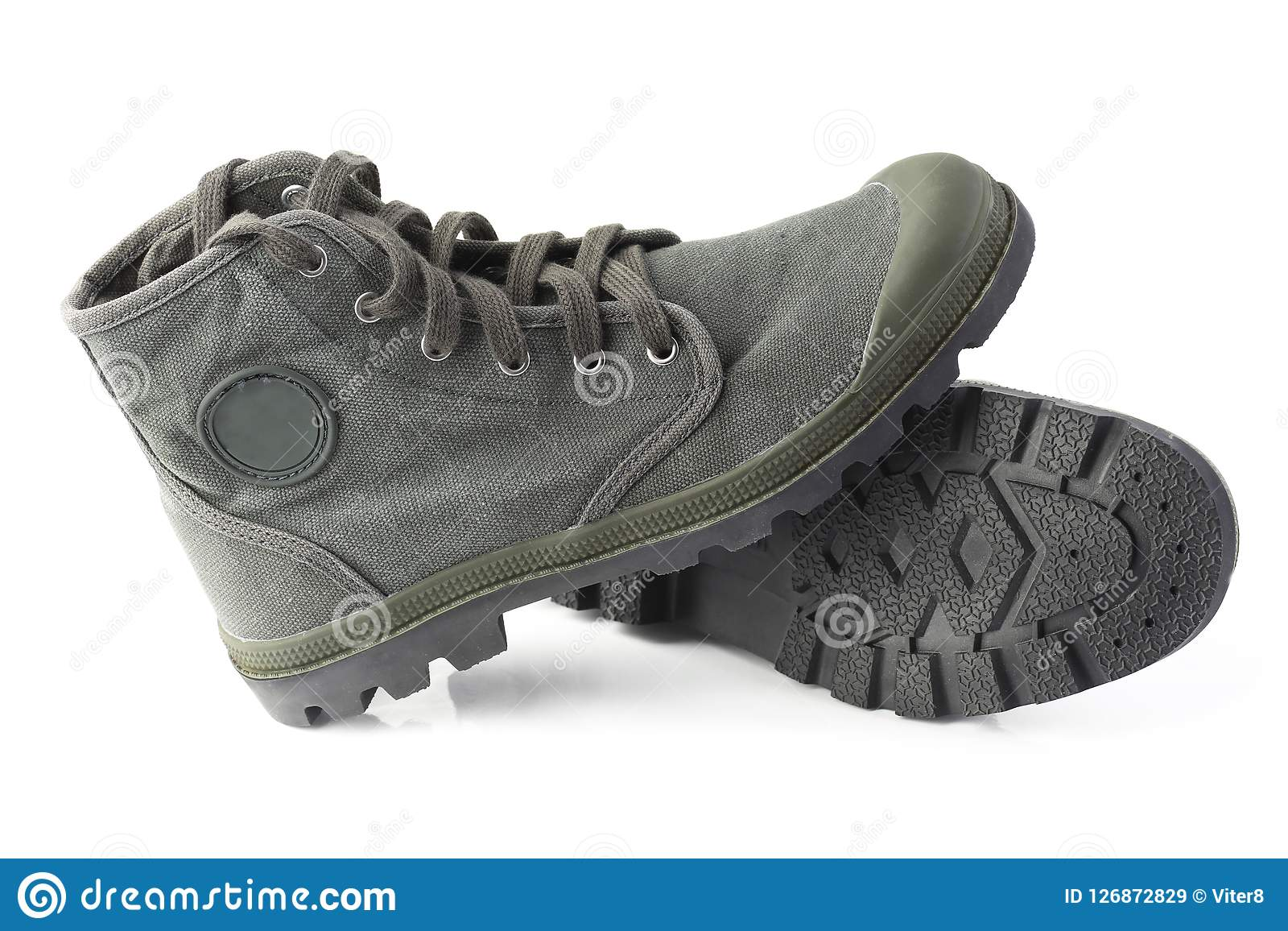Green Military Style Sneakers On White
