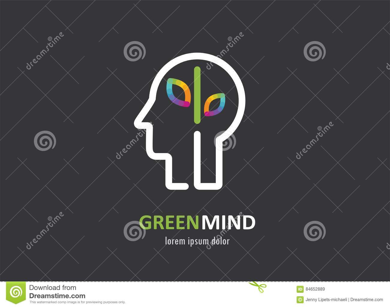 Green mind abstract colorful icon of human head brain symbol stock green mind abstract colorful icon of human head brain symbol biocorpaavc Images