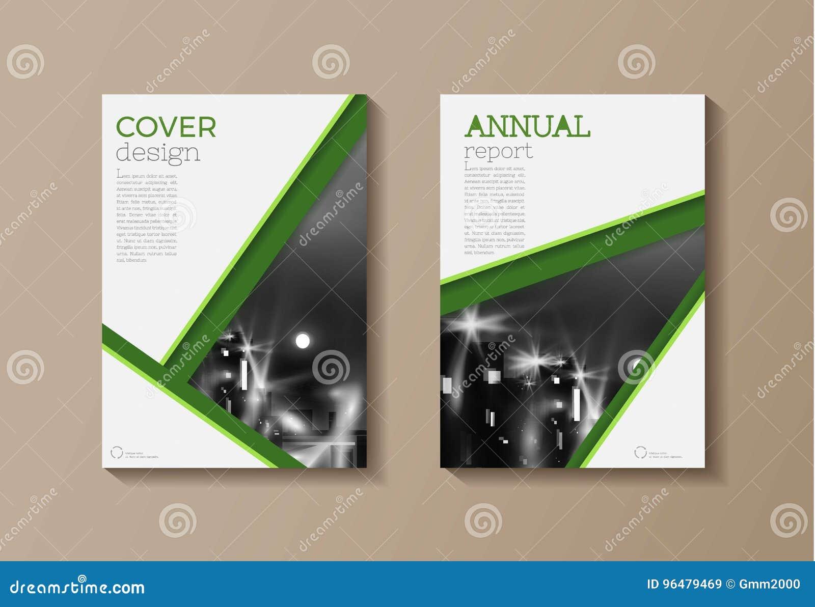 green modern cover book brochure template design annual repo stock
