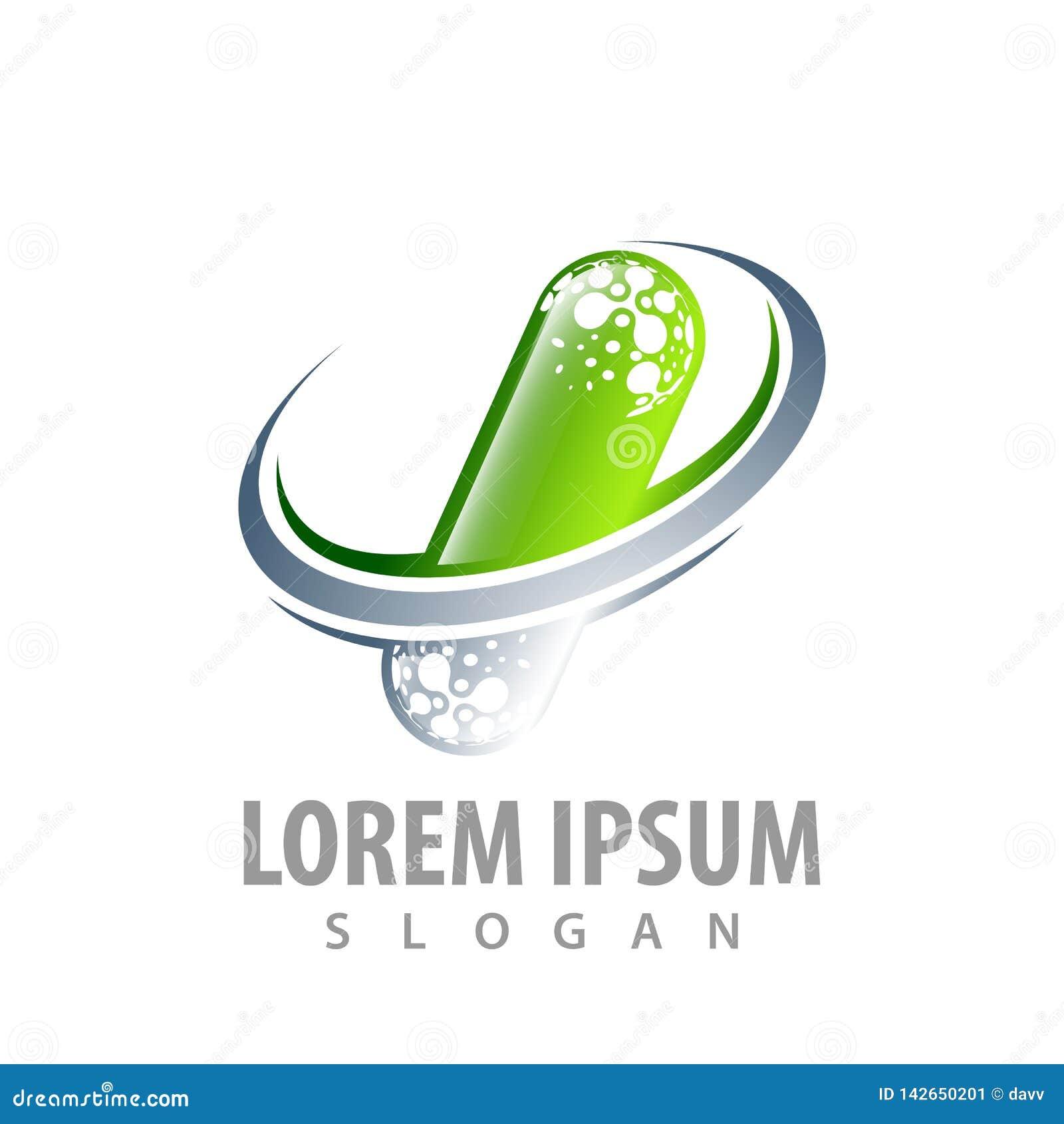 Green molecule capsule with grey swoosh concept design. Symbol graphic template element vector