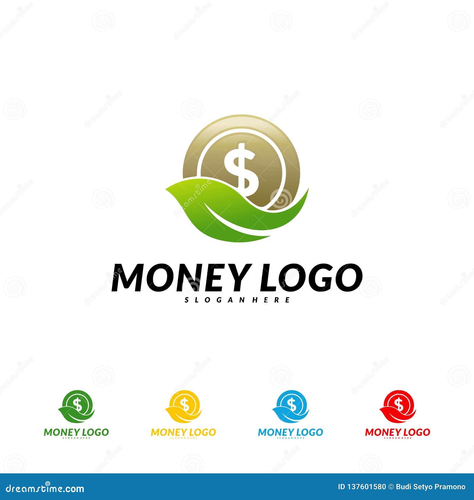 Green Money Logo Design Concept Vector. Coin With Leaf ...