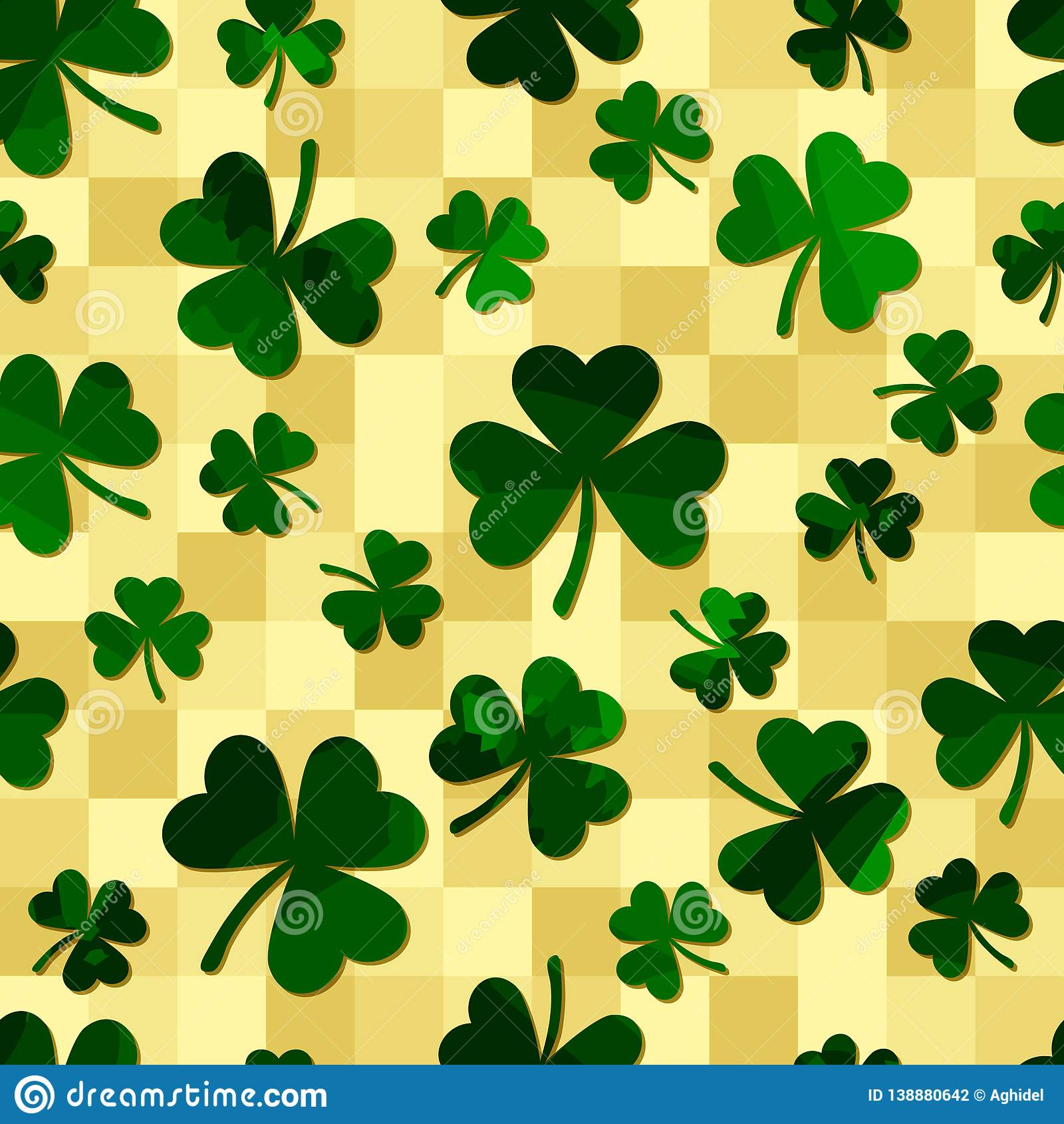 Green motley shamrock shapes on olive squares. vector seamless pattern. patrick backgorund. St. Patricks Day. textile paint
