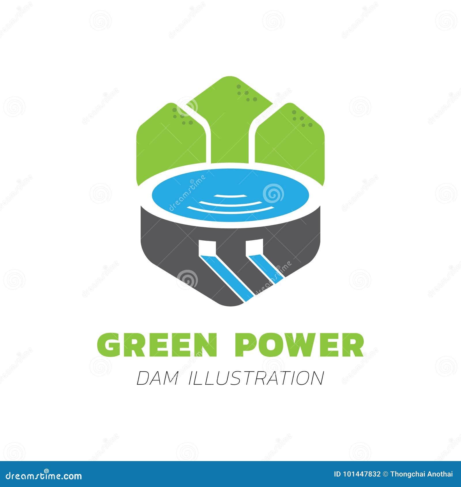 Green mountain lake vector illustration