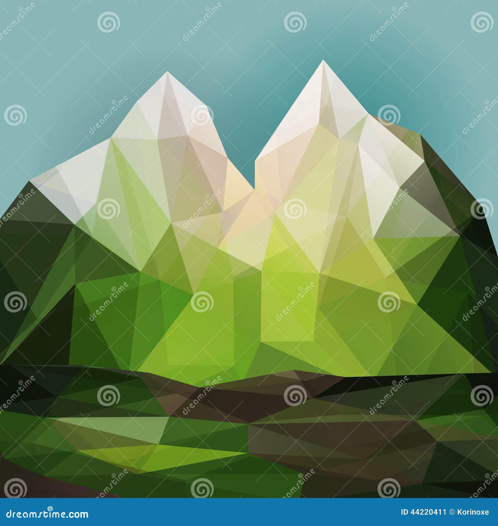 Landscape Illustration Vector Free: Green Mountain Landscape Stock Vector