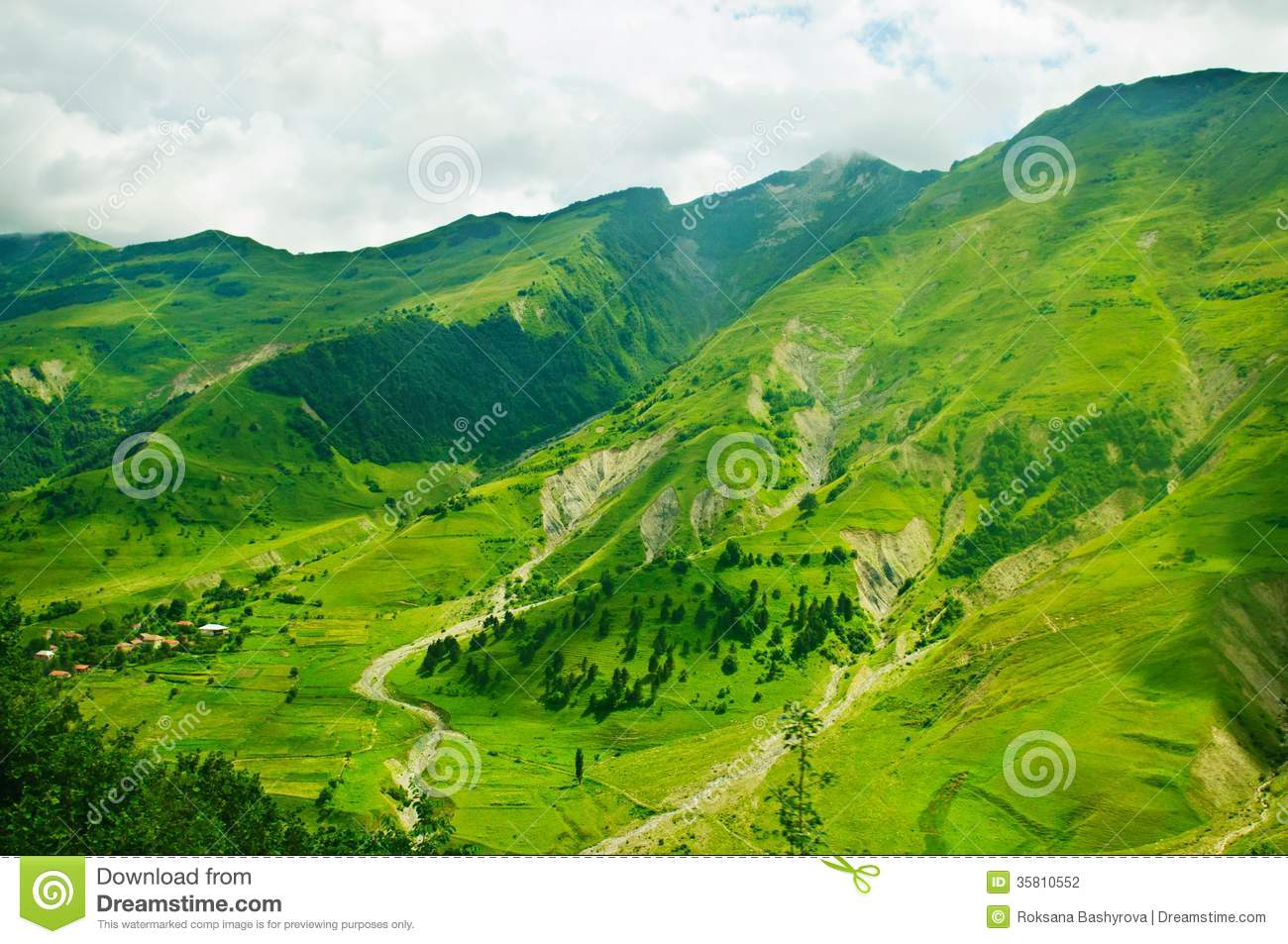 Green caucasus mountains landscape in Georgia, natural background.