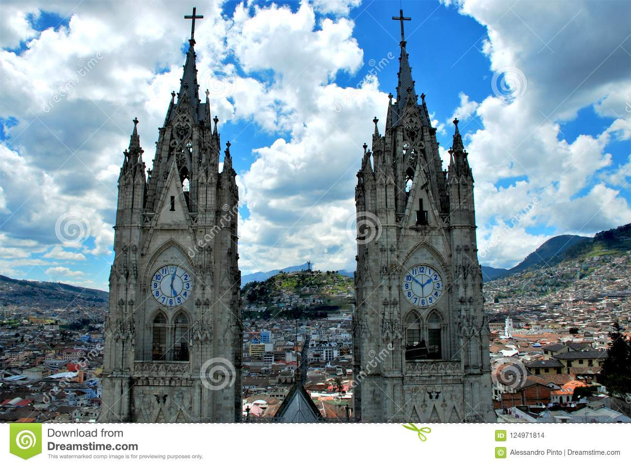 Green Mountains And Colonial Architecture In Quito Ecuador Stock