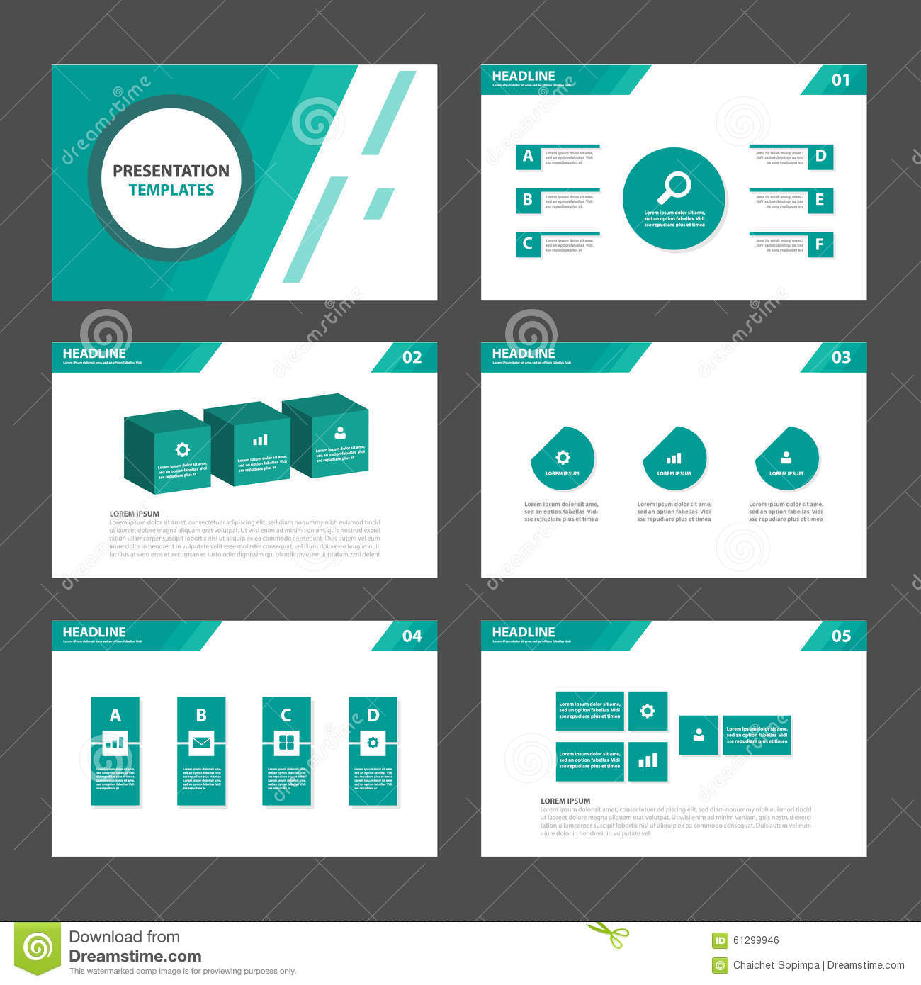 6 green Multipurpose Infographic elements and icon presentation template flat design set advertising marketing brochure flye