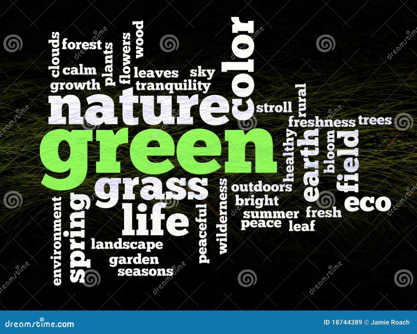 many words describing a green environmental theme on a grass to black