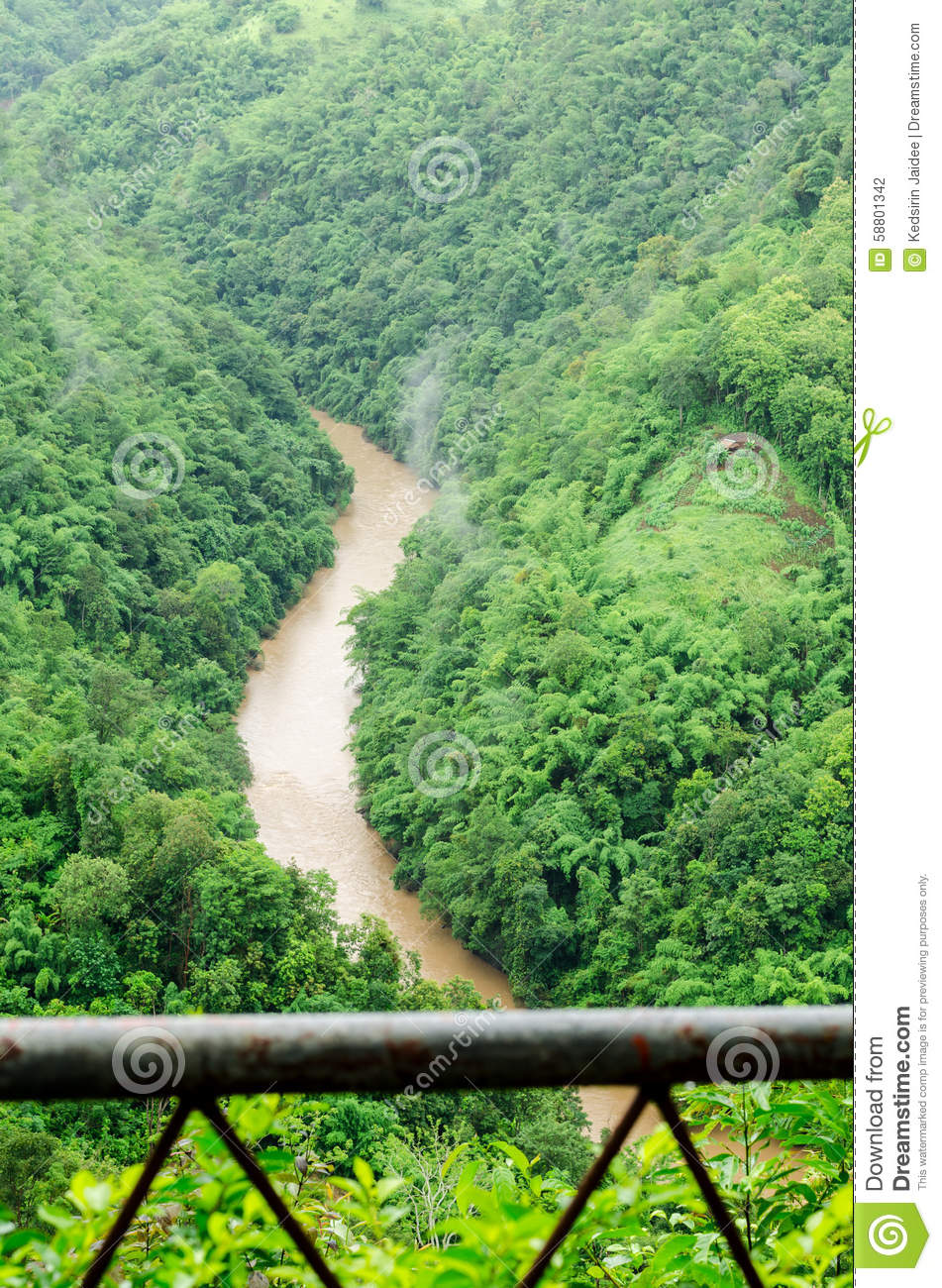 green nature mountains and rivers flood during in the rainy season