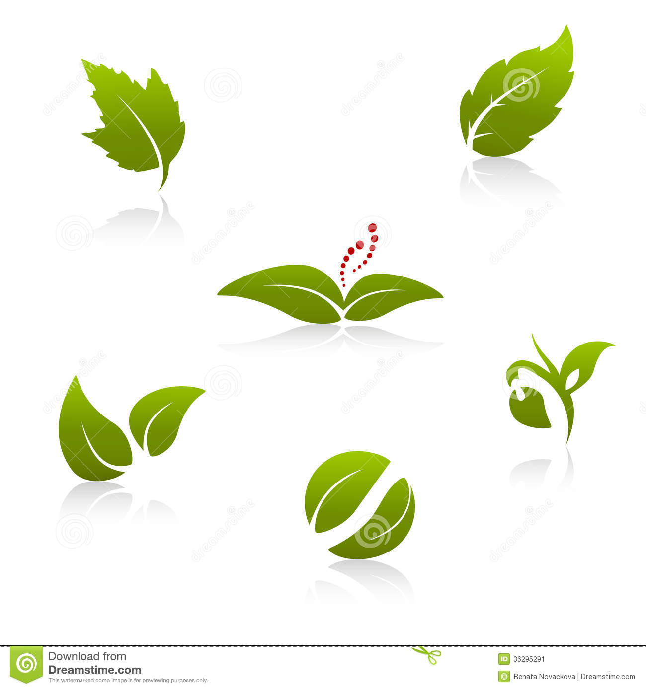 Green Nature Symbols Leaf Icon Silhouette With Shadow