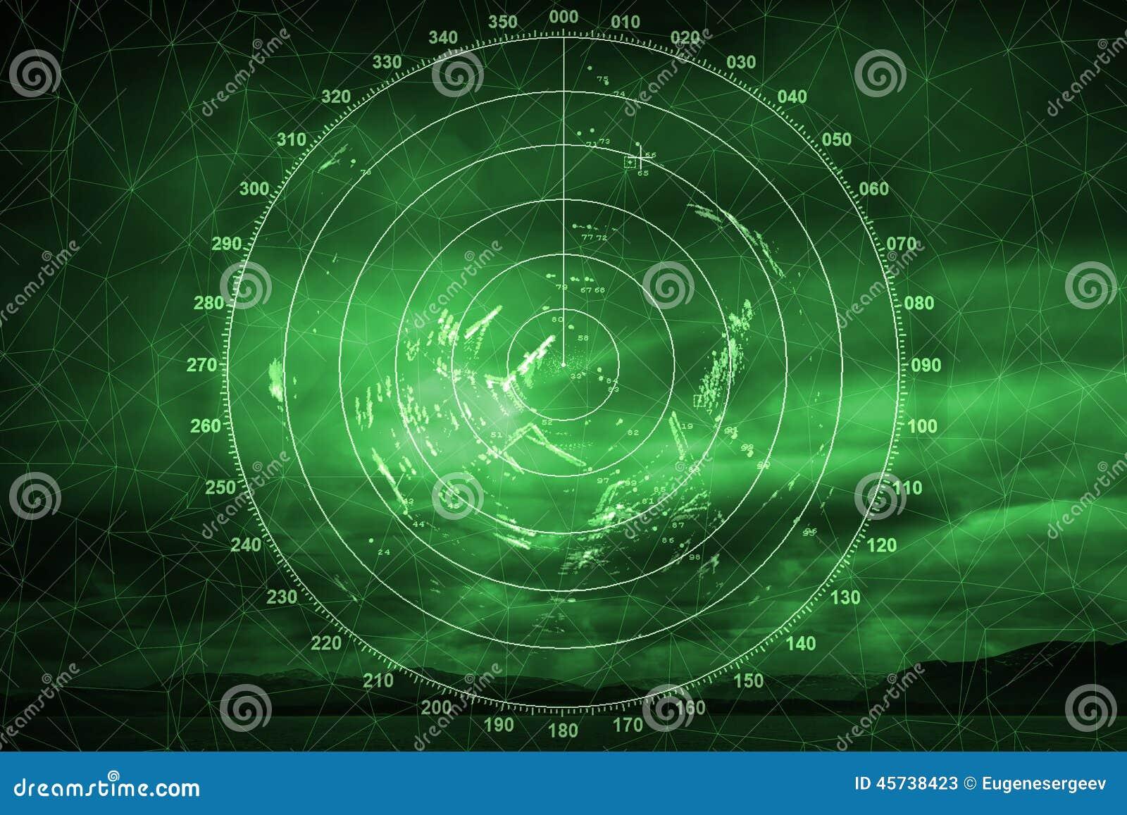 Green navigation system screen with radar image