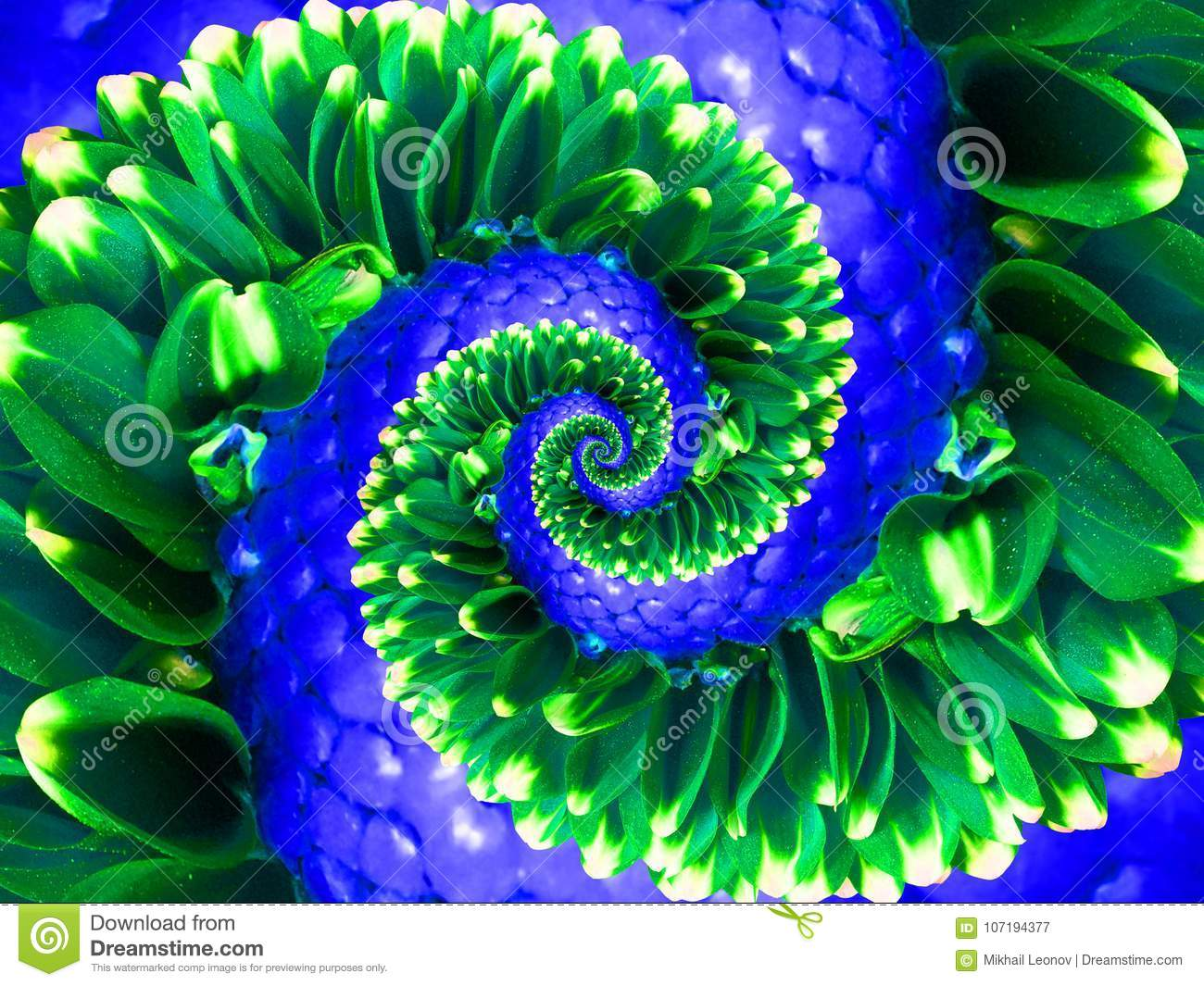 Green navy flower spiral abstract fractal effect pattern background. Floral spiral abstract pattern fractal. Surreal green blue