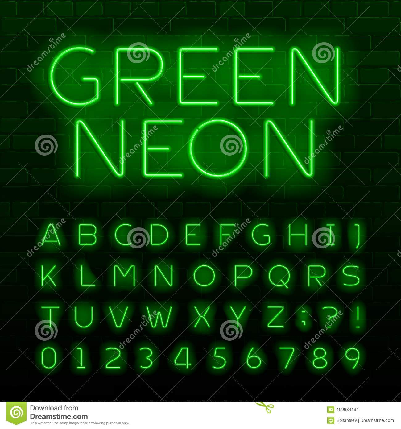 Green neon lamp alphabet font neon color shiny letters numbers green neon lamp alphabet font neon color shiny letters numbers and symbols brick wall background biocorpaavc Image collections