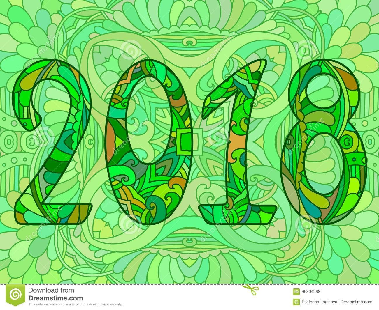 Green New Year Numbers 2018 With Ornament. Stock Vector ...