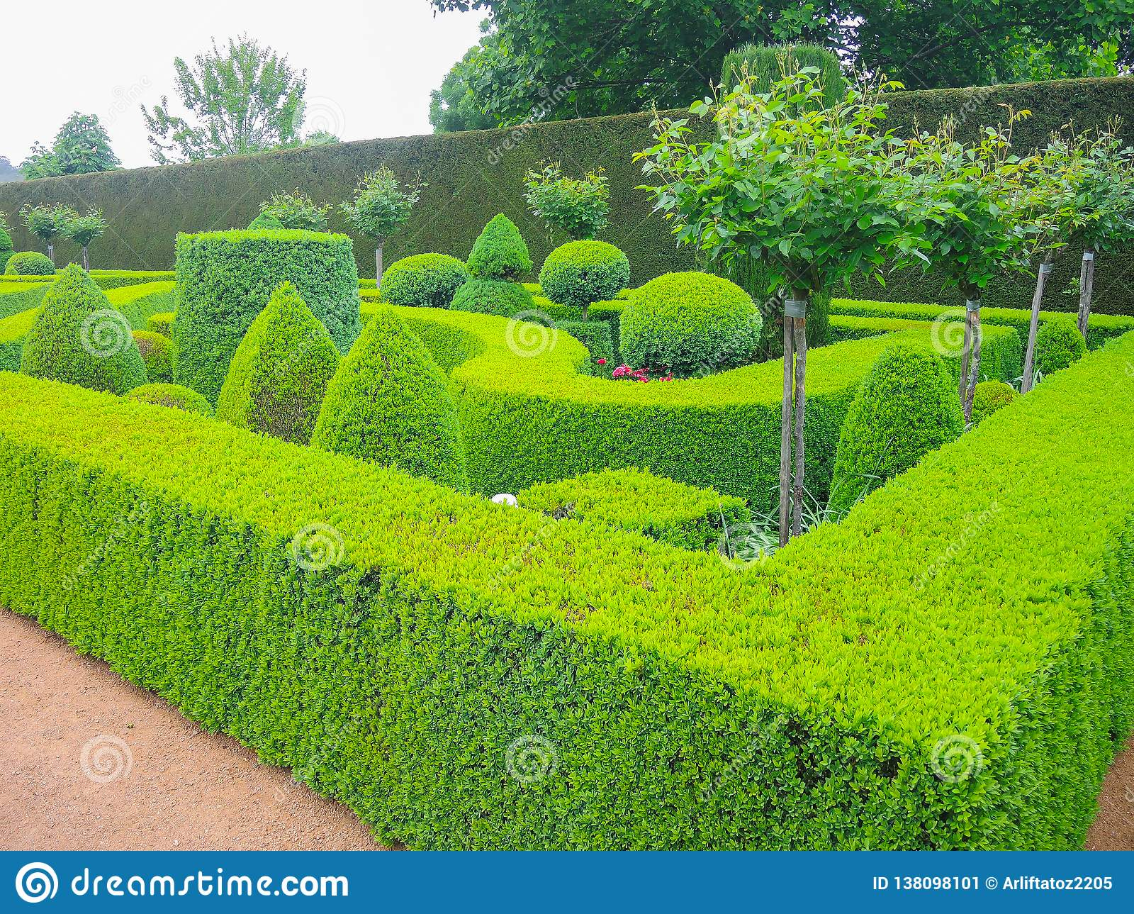 A Green Nice Garden With Hedges Cut Very Accurately Stock Image