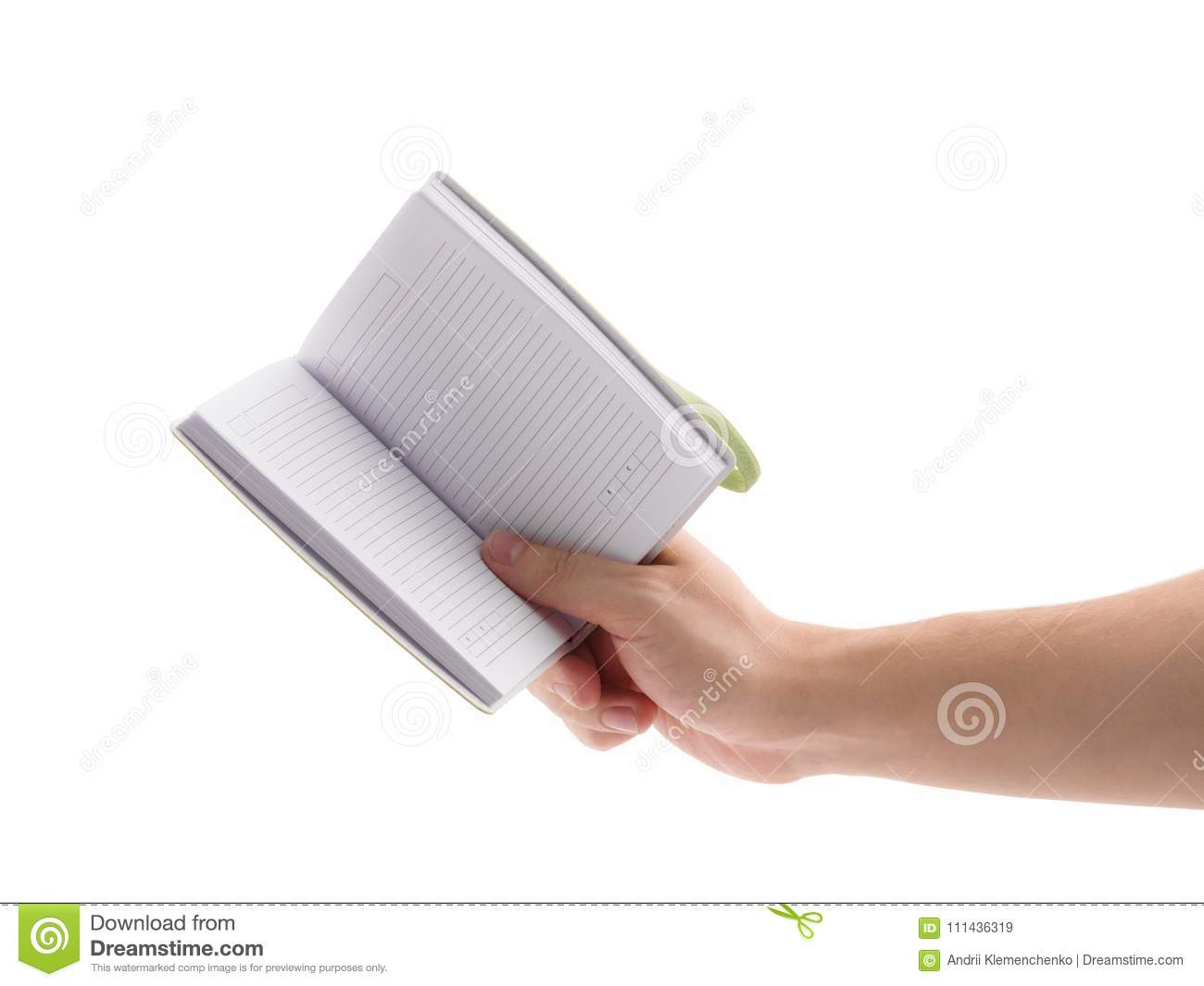 Green notepad. To do list . Man`s hand holding notepad