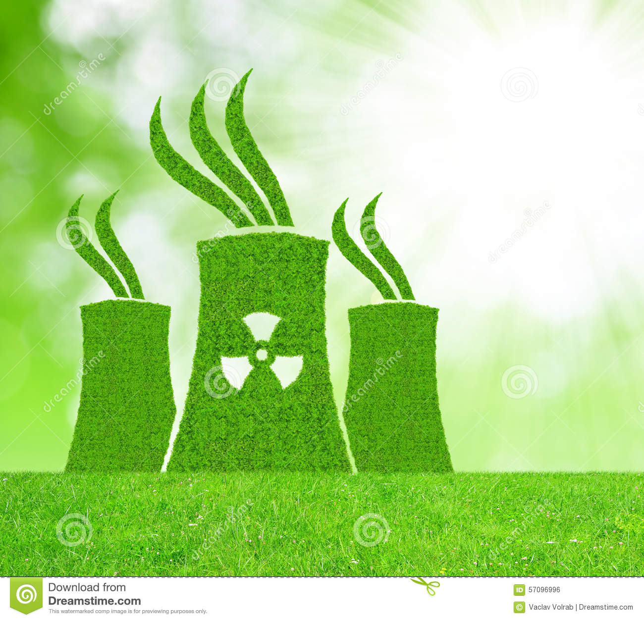 Green Nuclear Power Plant Icon Stock Photo Image 57096996